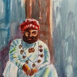 the mustache and the man , 6 x 10 inch, ajay anand,6x10inch,cartridge paper,paintings,figurative paintings,portrait paintings,paintings for living room,paintings for bedroom,paintings for office,paintings for hotel,watercolor,GAL01783939247