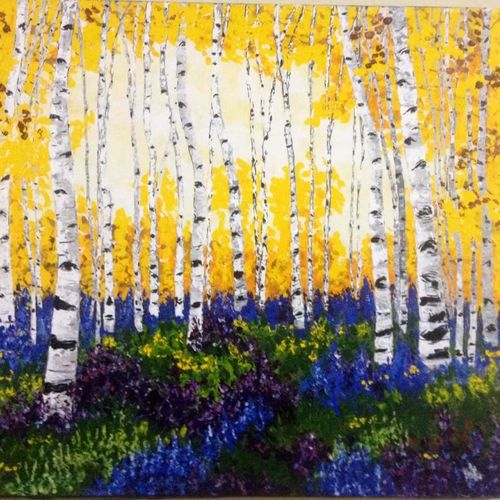 yellow bloom, 35 x 30 inch, shilpi singh patel,nature paintings,paintings for living room,paintings,canvas,acrylic color,35x30inch,GAL04553925Nature,environment,Beauty,scenery,greenery,trees,water,beautiful