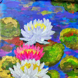 mystic lilies, 10 x 12 inch, shreya mitra,10x12inch,canvas,paintings,flower paintings,paintings for dining room,paintings for living room,paintings for bedroom,paintings for office,acrylic color,GAL02769939253