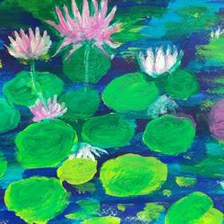 lily pond, 12 x 9 inch, shreya mitra,12x9inch,brustro watercolor paper,flower paintings,nature paintings | scenery paintings,acrylic color,GAL02769939254