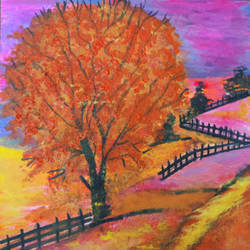 autumn blaze, 10 x 12 inch, shreya mitra,10x12inch,canvas,paintings,nature paintings | scenery paintings,paintings for dining room,paintings for living room,paintings for bedroom,paintings for office,acrylic color,GAL02769939255