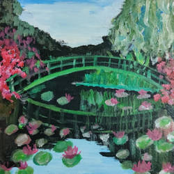 monet's garden with lily pads, 16 x 12 inch, shreya mitra,16x12inch,canvas,paintings,landscape paintings,nature paintings | scenery paintings,impressionist paintings,paintings for dining room,paintings for living room,paintings for bedroom,paintings for office,acrylic color,GAL02769939258