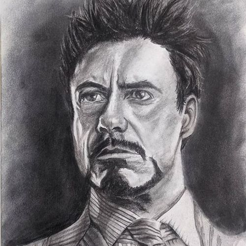 iron man/tony stark, 8 x 11 inch, pratik tambe,8x11inch,thick paper,drawings,figurative drawings,portrait drawings,paintings for bedroom,paintings for kids room,charcoal,GAL02770239263