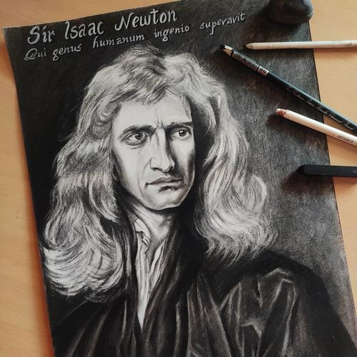 sir issac newton, 11 x 18 inch, pratik tambe,11x18inch,ivory sheet,drawings,figurative drawings,portrait drawings,realism drawings,paintings for living room,paintings for bedroom,paintings for office,paintings for kids room,paintings for school,charcoal,GAL02770239272
