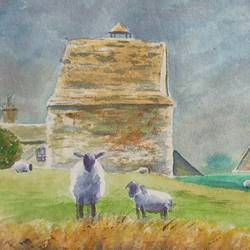 sheep and barn, 20 x 12 inch, ajay anand,20x12inch,handmade paper,paintings,landscape paintings,nature paintings | scenery paintings,impressionist paintings,animal paintings,paintings for dining room,paintings for living room,paintings for bedroom,paintings for office,paintings for hotel,watercolor,GAL01783939273