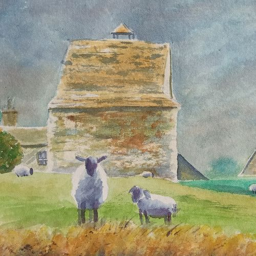 sheep and barn, 20 x 12 inch, ajay anand,20x12inch,handmade paper,paintings,landscape paintings,nature paintings   scenery paintings,impressionist paintings,animal paintings,paintings for dining room,paintings for living room,paintings for bedroom,paintings for office,paintings for hotel,watercolor,GAL01783939273