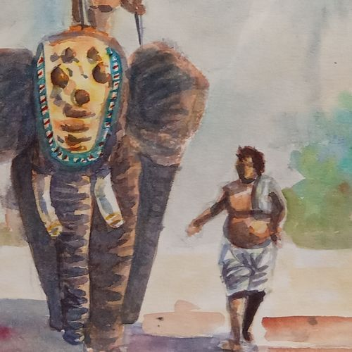 the elephant on walk , 6 x 10 inch, ajay anand,6x10inch,cartridge paper,paintings,figurative paintings,landscape paintings,religious paintings,nature paintings | scenery paintings,elephant paintings,paintings for dining room,paintings for living room,paintings for bedroom,paintings for office,paintings for kids room,paintings for hotel,watercolor,GAL01783939274