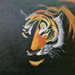 tiger in the dark, 18 x 24 inch, ninad mantri,18x24inch,canvas,paintings,wildlife paintings,illustration paintings,street art,animal paintings,realistic paintings,paintings for dining room,paintings for living room,paintings for bedroom,paintings for office,paintings for kids room,paintings for hotel,paintings for kitchen,paintings for school,paintings for hospital,paintings for dining room,paintings for living room,paintings for bedroom,paintings for office,paintings for kids room,paintings for hotel,paintings for kitchen,paintings for school,paintings for hospital,acrylic color,GAL02657839284