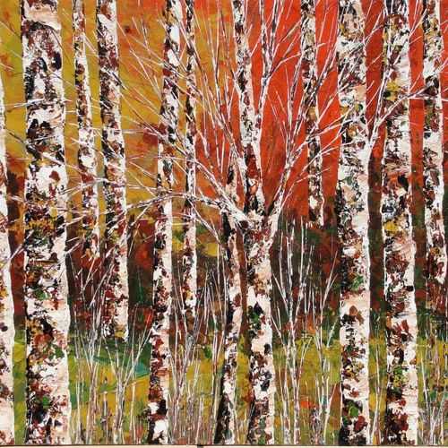 birches forest, 24 x 20 inch, shilpi singh patel,nature paintings,paintings for office,canvas board,acrylic color,24x20inch,GAL04553929Nature,environment,Beauty,scenery,greenery