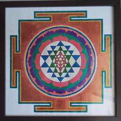 sri yantra, 24 x 24 inch, radha s,24x24inch,thick paper,paintings,conceptual paintings,religious paintings,paintings for dining room,paintings for living room,paintings for office,paintings for hotel,paintings for kitchen,paintings for hospital,acrylic color,paper,GAL02760139291