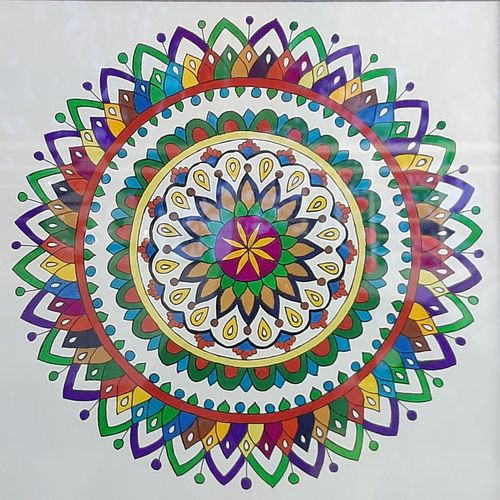 colorful mandala, 24 x 24 inch, radha s,24x24inch,thick paper,paintings,expressionism paintings,paintings for dining room,paintings for living room,paintings for bedroom,paintings for office,paintings for bathroom,paintings for kids room,paintings for hotel,paintings for kitchen,paintings for school,paintings for hospital,acrylic color,paper,GAL02760139292