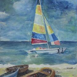 boat, 30 x 36 inch, kirti sharma ,contemporary paintings,paintings for dining room,ply board,acrylic color,30x36inch,GAL014053930