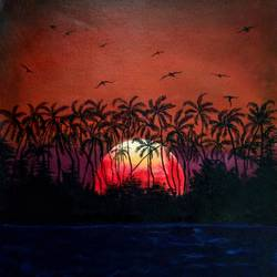 sunset, 16 x 18 inch, mehul boricha,16x18inch,canvas,paintings,landscape paintings,nature paintings | scenery paintings,paintings for dining room,paintings for living room,paintings for bedroom,paintings for office,paintings for hotel,paintings for school,acrylic color,GAL02737739319
