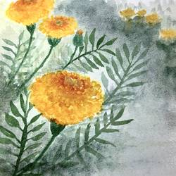 marigold flowers, 10 x 7 inch, art blues studio,10x7inch,handmade paper,paintings,flower paintings,modern art paintings,nature paintings | scenery paintings,paintings for dining room,paintings for living room,paintings for bedroom,paintings for office,paintings for bathroom,watercolor,GAL02669439324