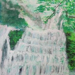 waterfall  scenery, 12 x 16 inch, shreya mitra,12x16inch,brustro watercolor paper,paintings,landscape paintings,nature paintings | scenery paintings,acrylic color,GAL02769939326