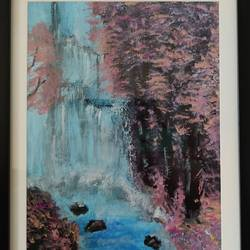 gushing waterfall, 12 x 16 inch, shreya mitra,12x16inch,canvas,paintings,nature paintings | scenery paintings,paintings for dining room,paintings for living room,paintings for bedroom,acrylic color,GAL02769939327