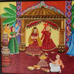 indian wedding , 50 x 40 inch, aanvi seksaria,50x40inch,canvas,figurative paintings,paintings for living room,paintings for bedroom,acrylic color,GAL02772339330