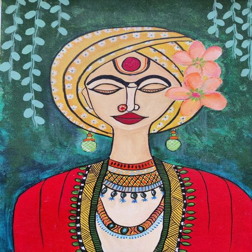 indian beauty, 12 x 16 inch, aanvi seksaria,12x16inch,canvas,figurative paintings,paintings for dining room,paintings for living room,paintings for bedroom,acrylic color,GAL02772339331