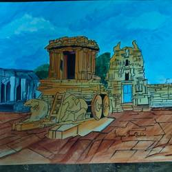 templescape of humpi, 16 x 11 inch, satguru saran pantula,16x11inch,renaissance watercolor paper,religious paintings,illustration paintings,paintings for living room,paintings for office,paintings for hotel,paintings for living room,paintings for office,paintings for hotel,acrylic color,GAL01438039332
