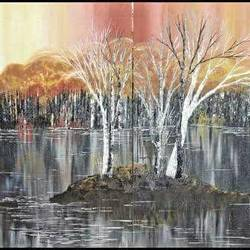 awesome grey, 48 x 20 inch, shilpi singh patel,multi piece paintings,paintings for office,paintings,canvas board,acrylic color,48x20inch,GAL04553934