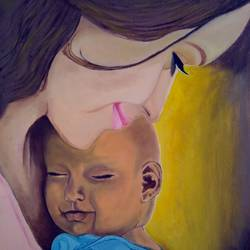 mother love, 16 x 20 inch, ashish gupta,16x20inch,canvas board,paintings,portrait paintings,photorealism,portraiture,baby paintings,children paintings,kids paintings,paintings for living room,paintings for bedroom,paintings for kids room,acrylic color,GAL01415439361