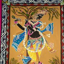 krishna, 12 x 17 inch, ratna bose,12x17inch,thick paper,paintings,religious paintings,paintings for living room,poster color,GAL02197839363