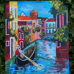 venice, city of canals, 10 x 12 inch, simran solkar,10x12inch,canvas board,paintings,landscape paintings,nature paintings | scenery paintings,photorealism paintings,acrylic color,GAL02750639364