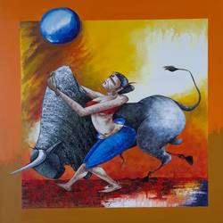casual courage, 36 x 36 inch, mahindra n,36x36inch,canvas,paintings,abstract paintings,paintings for dining room,paintings for living room,paintings for bedroom,paintings for office,paintings for kids room,paintings for hotel,paintings for school,paintings for hospital,acrylic color,GAL02737139365