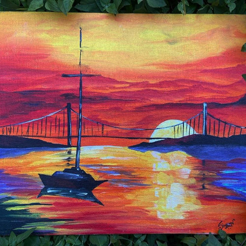 sunset , 10 x 12 inch, simran solkar,10x12inch,canvas,paintings,landscape paintings,nature paintings   scenery paintings,acrylic color,GAL02750639366