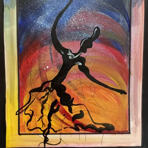 dancing beauty, 11 x 14 inch, saroja subhrayotsna,11x14inch,drawing paper,paintings,abstract paintings,paintings for living room,paintings for office,acrylic color,poster color,ball point pen,GAL02781939371