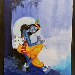 kanhaaji, 11 x 14 inch, saroja subhrayotsna,11x14inch,drawing paper,paintings,religious paintings,paintings for living room,acrylic color,fabric,poster color,ball point pen,GAL02781939375