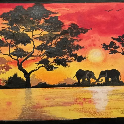 african sunset, 14 x 10 inch, saroja subhrayotsna,14x10inch,drawing paper,paintings,landscape paintings,paintings for living room,paintings for office,acrylic color,pastel color,poster color,ball point pen,GAL02781939377
