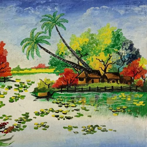 countryside, 16 x 12 inch, saroja subhrayotsna,16x12inch,canvas,paintings,landscape paintings,paintings for living room,paintings for office,paintings for hotel,paintings for school,acrylic color,oil color,GAL02781939378