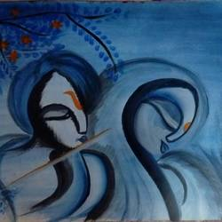 radhakrishna , 17 x 12 inch, ayushi mangal,radha krishna paintings,paintings for living room,thick paper,acrylic color,17x12inch,GAL012933938