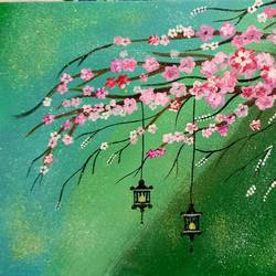 cherry blossoms, 12 x 9 inch, saroja subhrayotsna,12x9inch,canvas board,paintings,flower paintings,paintings for dining room,paintings for living room,paintings for bedroom,acrylic color,GAL02781939381