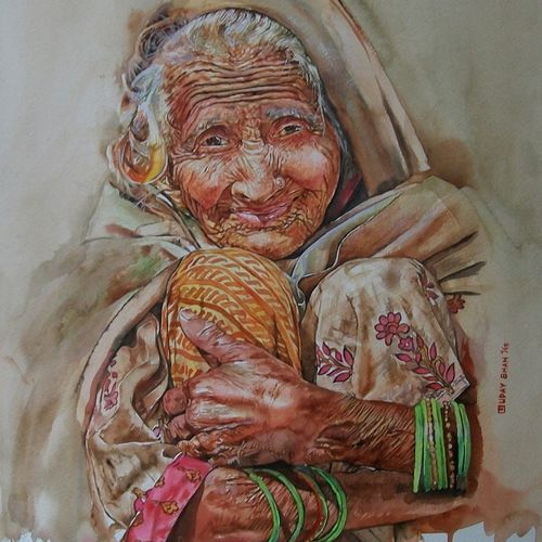 undefined cuteness, 16 x 20 inch, uday bhan  singh,portrait paintings,paintings for living room,fabriano sheet,watercolor,16x20inch,GAL014333939