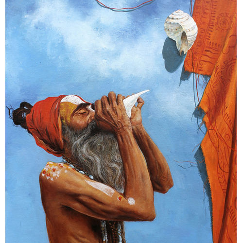worshiping sadhu, 30 x 24 inch, satyabrata karmakar,figurative paintings,paintings for living room,canvas,acrylic color,30x24inch,GAL0168394