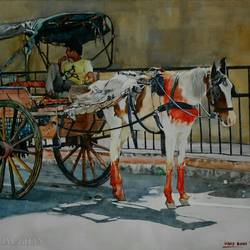 horse cart, 17 x 13 inch, uday bhan  singh,cityscape paintings,paintings for living room,horse paintings,fabriano sheet,watercolor,17x13inch,GAL014333940