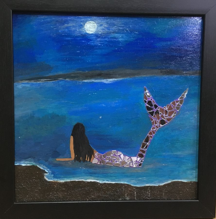 silent night, 10 x 14 inch, madhumitha karun,10x14inch,acrylic glass,paintings,landscape paintings,nature paintings   scenery paintings,acrylic color,mixed media,sand,glass,GAL02216739409