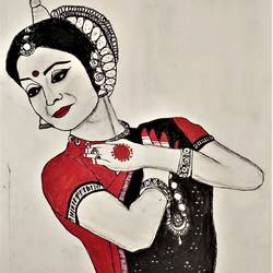 indian odissi dancer ,charcoal and acrylic art, 21 x 30 inch, pruthiraj baisak,21x30inch,drawing paper,drawings,abstract drawings,abstract expressionism drawings,art deco drawings,expressionism drawings,fine art drawings,folk drawings,modern drawings,portrait drawings,realism drawings,radha krishna drawings,acrylic color,charcoal,pen color,pencil color,ball point pen,paper,GAL02663939419