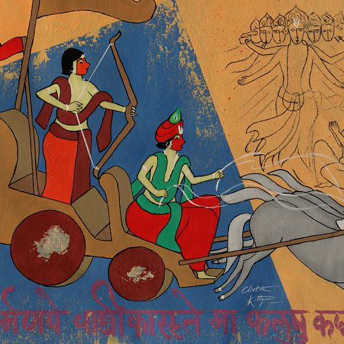 lord krishna and arjuna , 26 x 19 inch, chetan katigar,26x19inch,canvas,paintings,abstract paintings,buddha paintings,wildlife paintings,figurative paintings,flower paintings,folk art paintings,foil paintings,cityscape paintings,landscape paintings,modern art paintings,multi piece paintings,conceptual paintings,religious paintings,still life paintings,portrait paintings,nature paintings | scenery paintings,abstract expressionism paintings,art deco paintings,dada paintings,expressionism paintings,illustration paintings,impressionist paintings,minimalist paintings,photorealism paintings,portraiture,realism paintings,surrealism paintings,ganesha paintings | lord ganesh paintings,radha krishna paintings,contemporary paintings,realistic paintings,love paintings,horse paintings,mother teresa paintings,water fountain paintings,children paintings,lord shiva paintings,kalamkari painting,paintings for dining room,paintings for living room,paintings for bedroom,paintings for office,paintings for bathroom,paintings for kids room,paintings for hotel,paintings for kitchen,paintings for school,paintings for hospital,acrylic color,GAL026639420