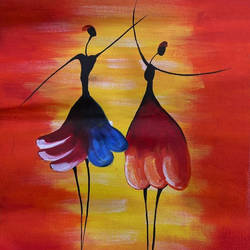 dancing girls, 12 x 17 inch, simran solkar,12x17inch,canvas,paintings,abstract paintings,modern art paintings,paintings for dining room,paintings for living room,paintings for bedroom,paintings for dining room,paintings for living room,paintings for bedroom,acrylic color,GAL02750639421