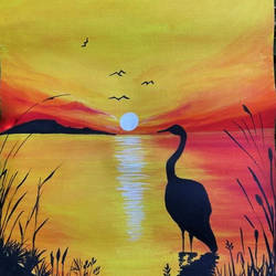 sunset by lake, 12 x 17 inch, simran solkar,12x17inch,canvas,paintings,wildlife paintings,landscape paintings,nature paintings | scenery paintings,paintings for living room,paintings for bedroom,acrylic color,GAL02750639422