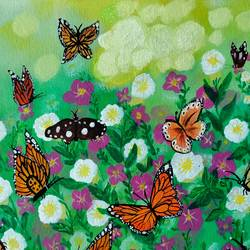 flower and butterflies painting, 16 x 12 inch, veena nandavaram,16x12inch,canvas board,paintings,flower paintings,landscape paintings,still life paintings,nature paintings | scenery paintings,art deco paintings,paintings for dining room,paintings for living room,paintings for bedroom,paintings for office,paintings for kids room,paintings for hotel,paintings for kitchen,paintings for school,paintings for hospital,acrylic color,GAL02687039425