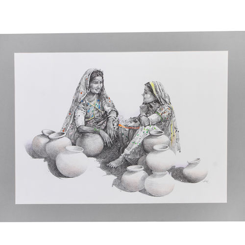gossip, 30 x 22 inch, nidhi gupta,30x22inch,thick paper,figurative paintings,portrait paintings,realistic paintings,paintings for dining room,paintings for living room,paintings for hotel,paintings for hospital,paintings for dining room,paintings for living room,paintings for hotel,paintings for hospital,ink color,pastel color,pen color,pencil color,watercolor,paper,GAL0988339427