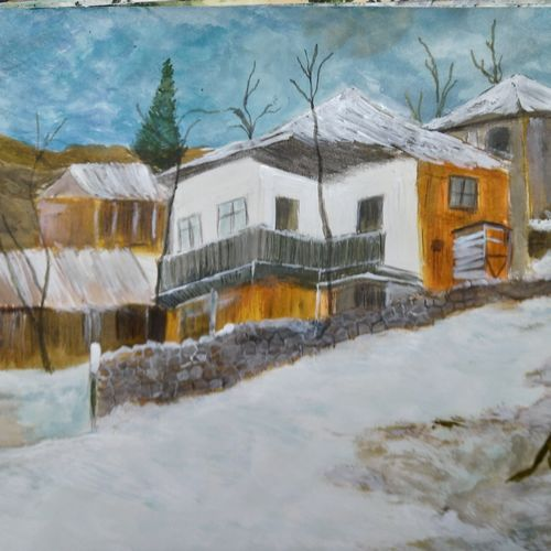 snow covered house, 17 x 12 inch, pinki saha,17x12inch,drawing paper,paintings,landscape paintings,nature paintings | scenery paintings,paintings for living room,paintings for bedroom,paintings for hotel,acrylic color,paper,GAL02786539429