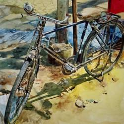 old cycle, 19 x 14 inch, uday bhan  singh,still life paintings,paintings for living room,canson paper,watercolor,19x14inch,GAL014333943