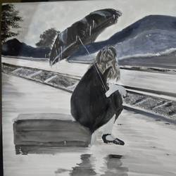 waiting in the rain, 17 x 12 inch, pinki saha,17x12inch,drawing paper,paintings,landscape paintings,nature paintings | scenery paintings,acrylic color,paper,GAL02786539430