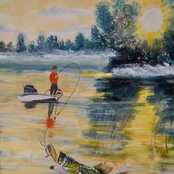 fishing, 17 x 12 inch, pinki saha,17x12inch,drawing paper,paintings,nature paintings | scenery paintings,paintings for living room,acrylic color,paper,GAL02786539432