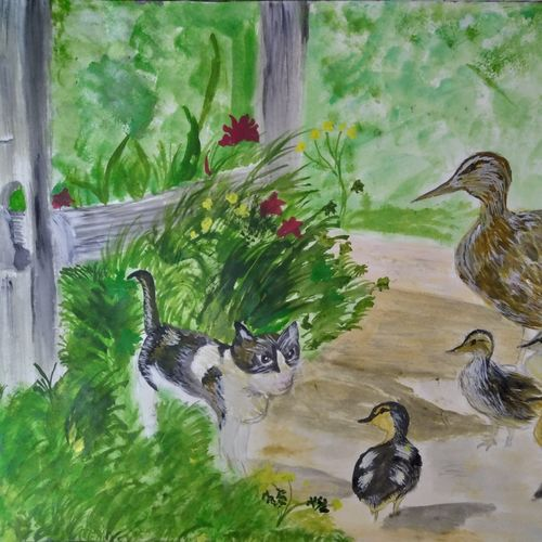 ducks and cat, 17 x 12 inch, pinki saha,17x12inch,drawing paper,paintings,nature paintings | scenery paintings,acrylic color,paper,GAL02786539433